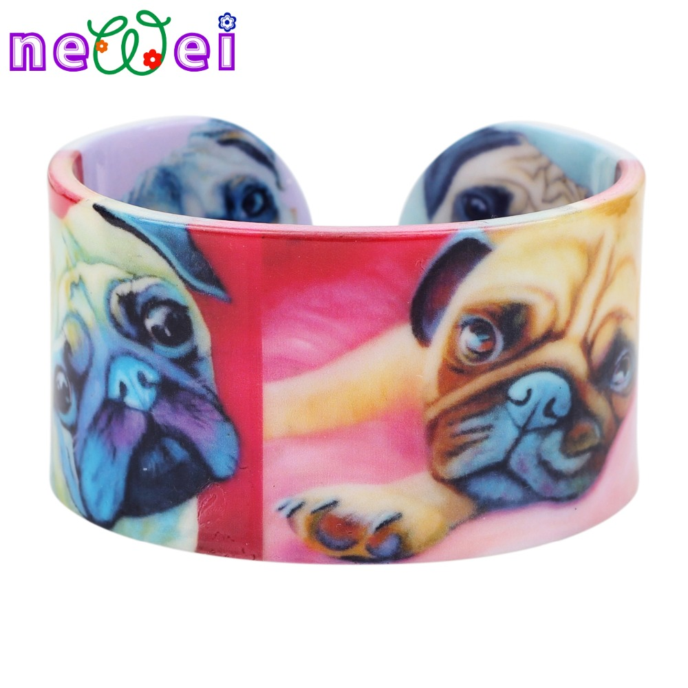 NEWEI Plastic French Bulldog Pug Dog Bangles Bracelets Fashion Indian Craft Jewelry For Women Girl Animal Accessories Wholesale