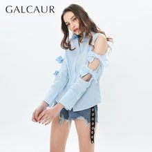 GALCAUR Bowknot Shirt Blouse For Women Lapel Off Shoulder Long Sleeve Korean Shirts Top Female Casual 2019 Fashion Clothes(China)