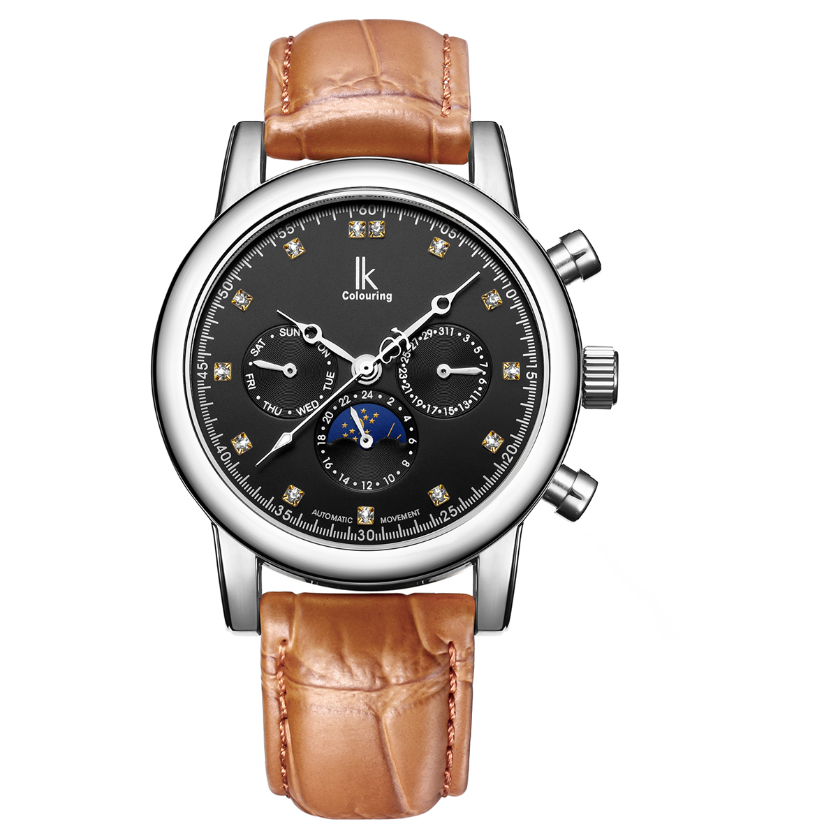 ФОТО IK colouring Auto Date Automatic Mechanical Watches Genuine leather Strap Moon Phase Business Gold Case Wristwatch Luxury