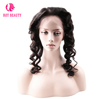 Hot Beauty Hair Pre Plucked 360 Lace Frontal Closure With Cap 100% Natural Black Color Peruvian Loose Wave Remy Human Hair
