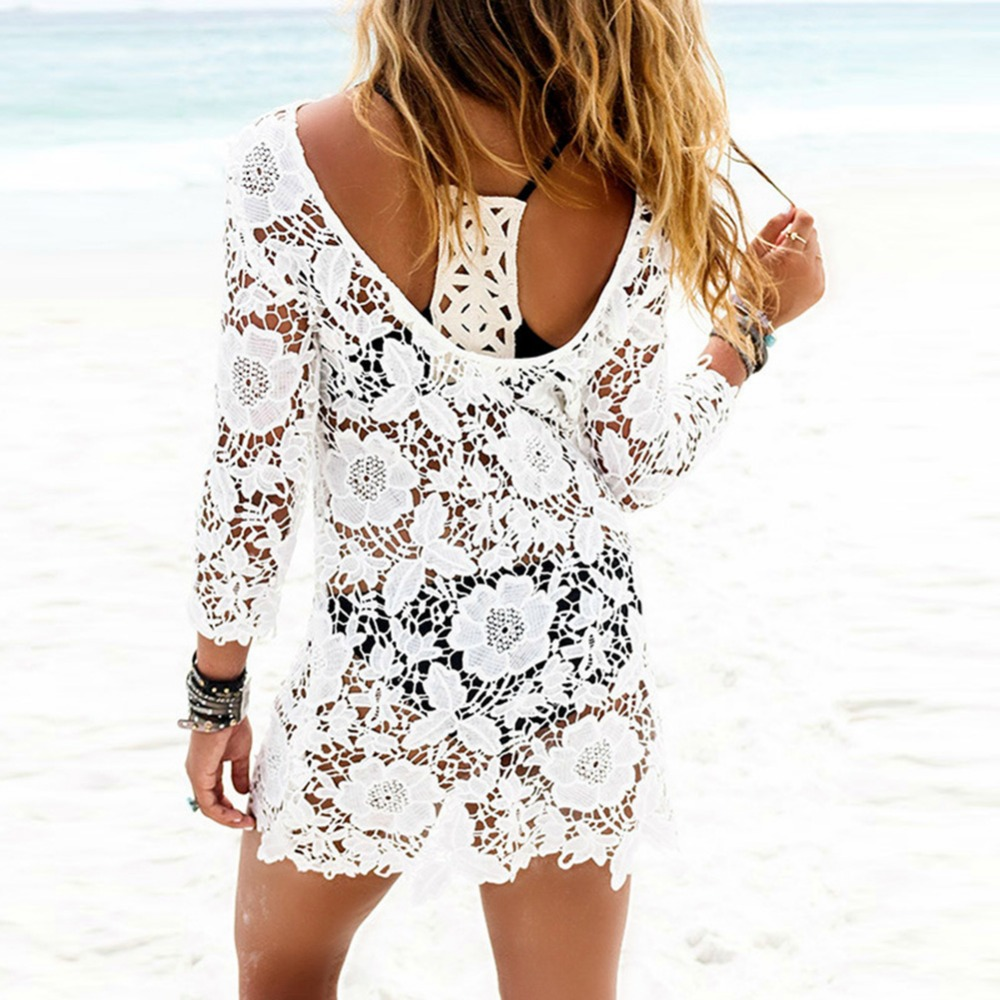 dfcf2cb2b4 Beach Cover Ups Ladies White Lace Cover Up Beach Dress Bathing Suit Crochet  Tassel Bikini Swimwear Rn-in Cover-Ups from Sports & Entertainment on ...