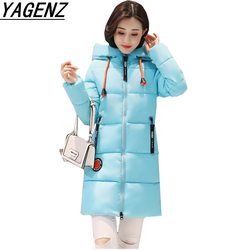 YAGENZ   Parkas   Winter Lady Hoodie Jacket Coats Plus Size 3XL Slim Thicker Warm Girl Coat Middle long Student Down Cotton Clothes