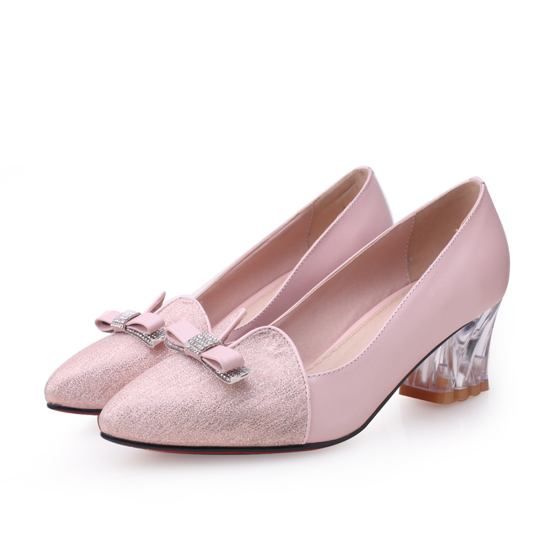 ФОТО Women's Pointed Toe Red Bottom Slip-on Med Heel Comfort Pumps OL Style Sweet Bowtie Transparent Heels Genuine Leather Shoe Women
