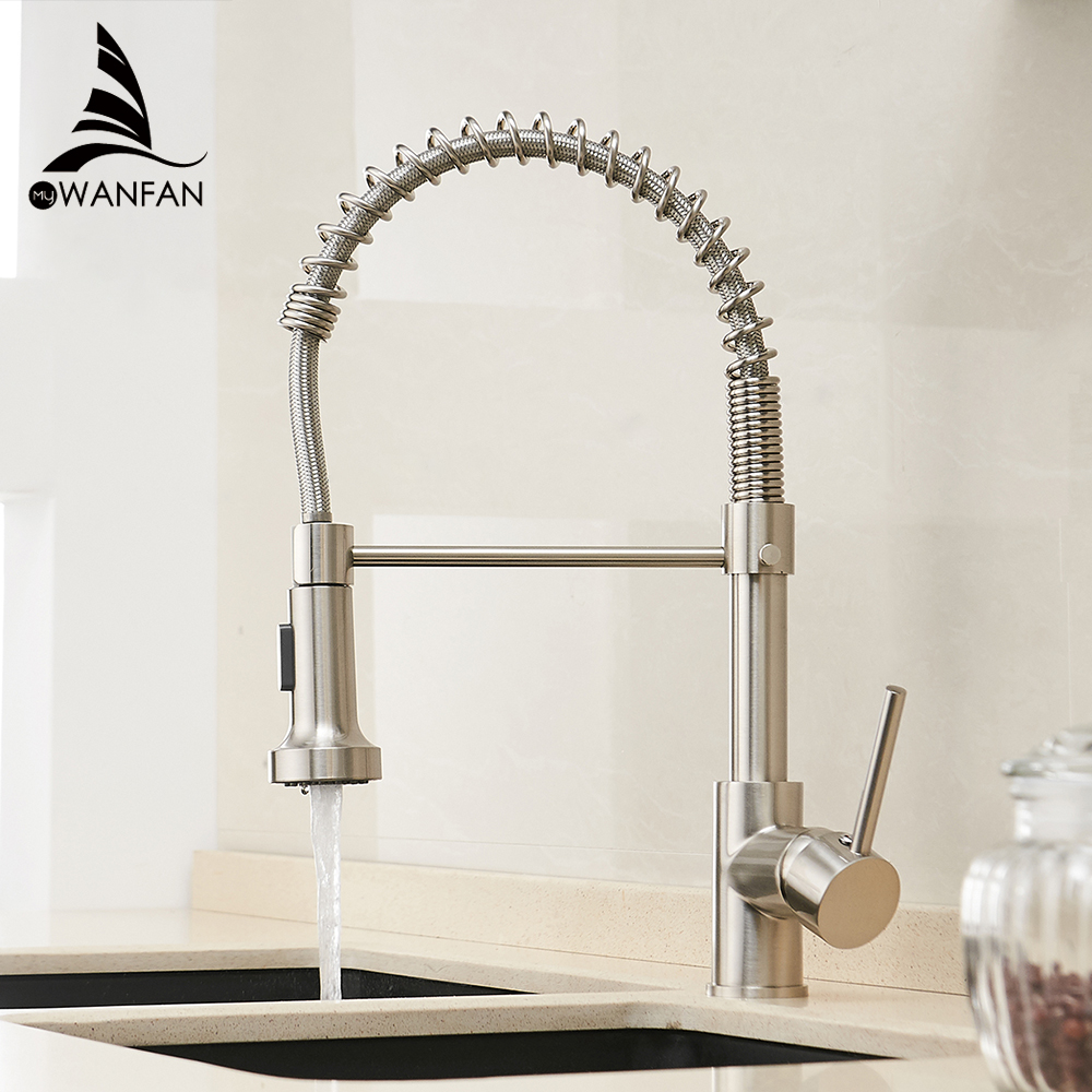 Kitchen Faucets Gold Brass Faucets For Kitchen Sink  Single Lever Pull Out Spring Spout Mixers Tap Hot Cold Water Crane 9009