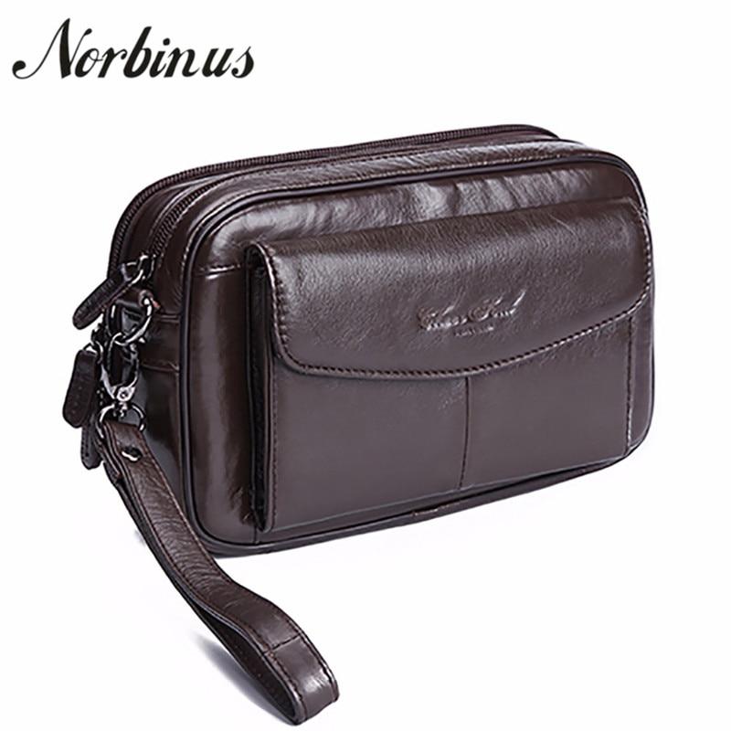 5f222f6942fe5 Norbinus الرجال محافظ جلد طبيعي حقائب يد الطبيعي الجلد طويلة محافظ  Wristlets المال محفظة الهاتف الحقيبة