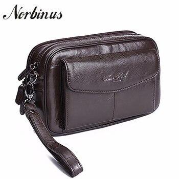 Norbinus Casual Mannen Portefeuilles Echt Lederen Clutch Bags Natuurlijke Huid Lange Portefeuilles Portemonnee Telefoon Pouch Case