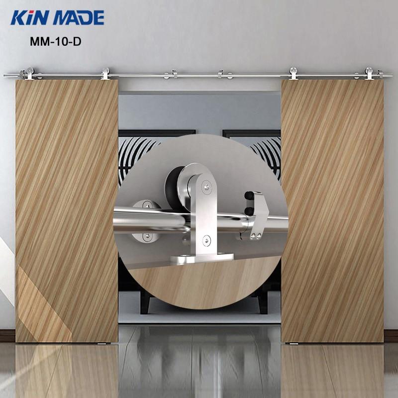 KIN FAIT 10FT/13.1FT Double Coulissante Grange porte top mount acier inoxydable ferrures coulissantes en bois porte coulissante piste ensemble