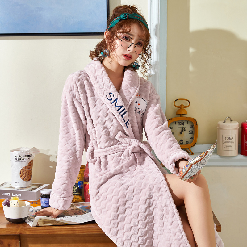 CherLemon Flannel Kimono Robe Women Autumn and Winter Bathrobe