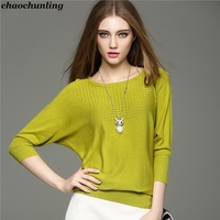 Women Hollow Knitted Sweater 2017 New Product Autumn And Winter Lady Sexy Pullovers O Neck Bat