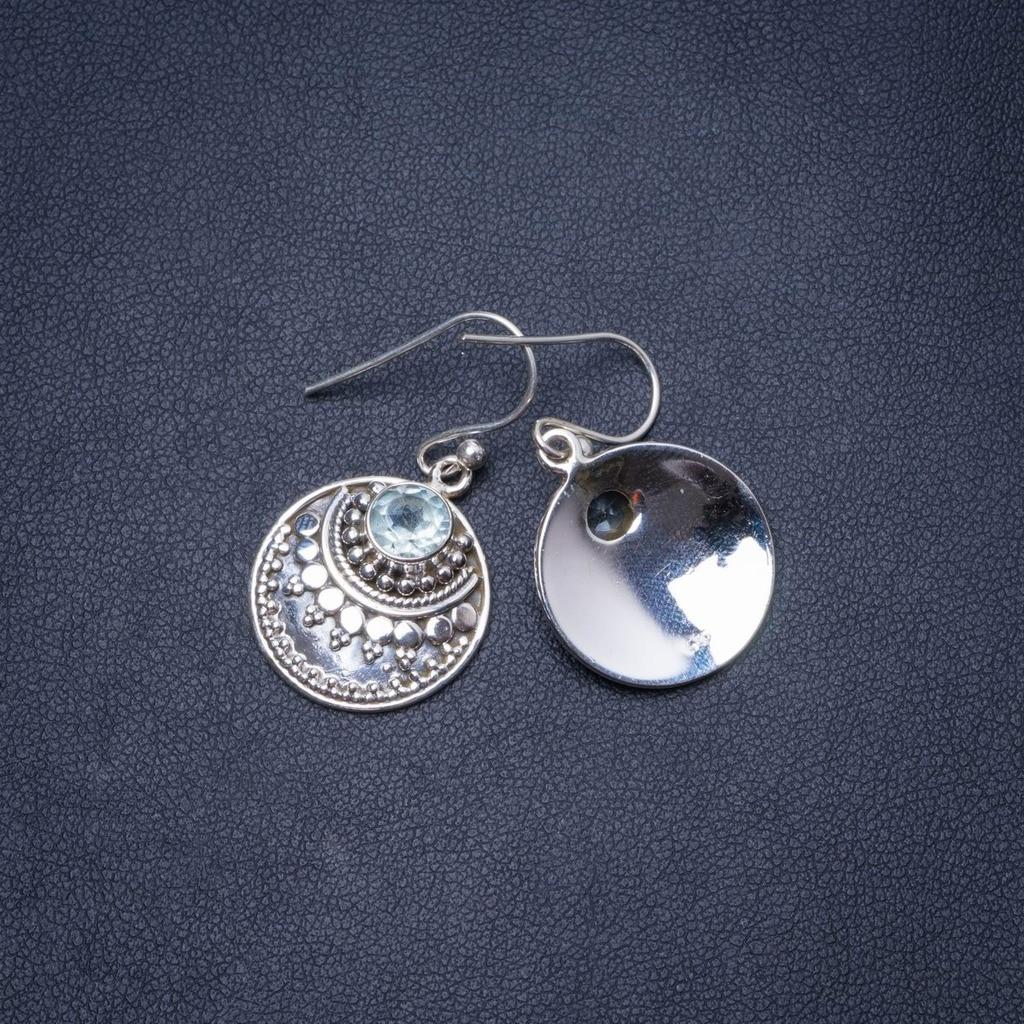 """Boucles d'oreilles en argent Sterling 925 uniques faites main en topaze bleue naturelle 1.25 """"Y0729"""