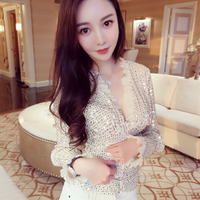 KENVY brand High end luxury women's sequin glitter sexy V neck long sleeved cardigan jacket coats