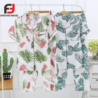 Strawberry/Flamingo/Flower Print Blouse & Pants Women Pajama Set Japanese Cardigan Button Home Clothing Casual Sweet Suits 2Pcs