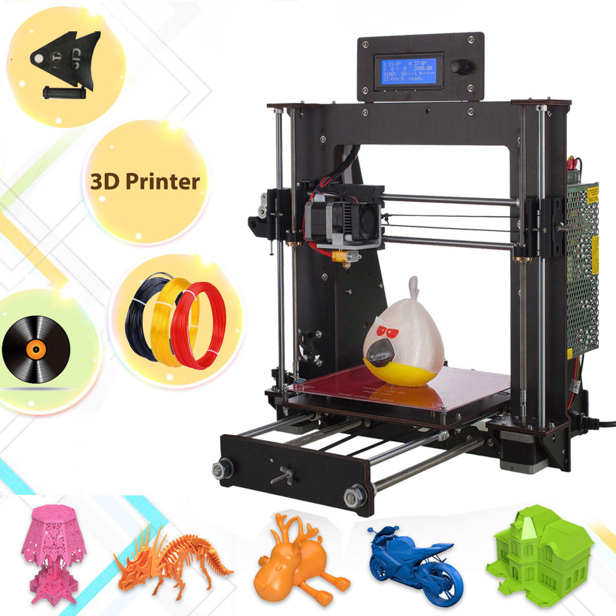 2018 Upgraded Full Quality High Precision Reprap Prusa i3 DIY 3D Printer MK8 LCD 2016 upgrade free shipping 3d printer high precision reprap prusa i3 220 220 240mm 3d printer diy kit 0 5kg filament 8g sd card