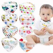 8 шт./лот, хлопок, детские нагрудники для мальчиков, полотенце для девочек, мультяшная бандана, нагрудник для новорожденных, слюнявчик для младенцев