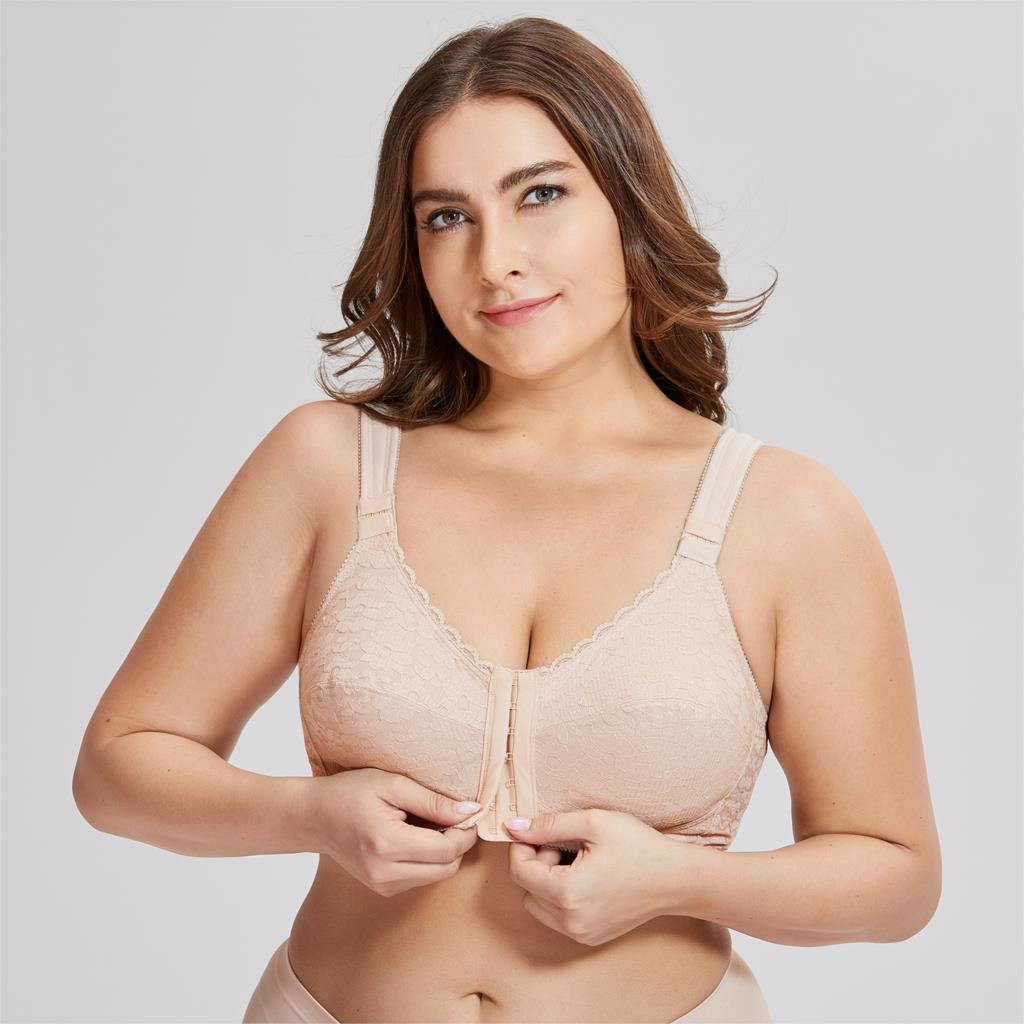 2509bfcf383a4 Women s Full Coverage Posture Corrector Front Closure Wireless Back Support  Lace Bra Plus Size 38-52 D E F Cup