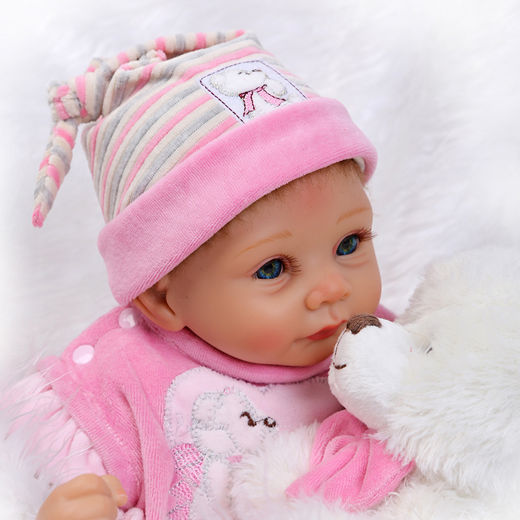 Free Shipping! 55cm Lifelike Reborn Doll 22inch Silicone Reborn Baby Dolls with Bear Girls Toys Birthday Xmas Gifts Bonecas