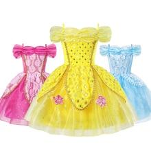 Princess Dress for Girl Kids Costumes Cosplay Belle Aurora Cinderella Jasmine Cartoon Beauty and The Beast  Fancy Summer Dresses
