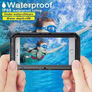 Image 2 - 3 Layers Hybrid Waterproof Shockproof Phone Cases for iPhone X 8 7 6 6S Plus 5 5S SE PC+TPU with Glass Phone Shell Case