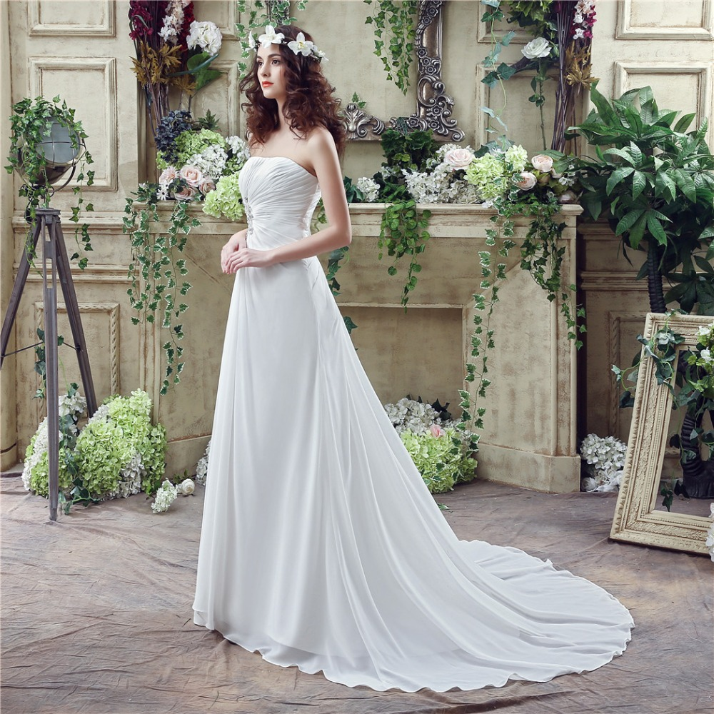 Discount Wedding Gowns: Real Photo Cheap Pearl Beaded Beach Wedding Dress Simple