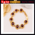 Gold Plated Statement Colorful Zircon Crystal Beads Round Imitation Diamond Bride Bracelets & Bangles for Women Gift