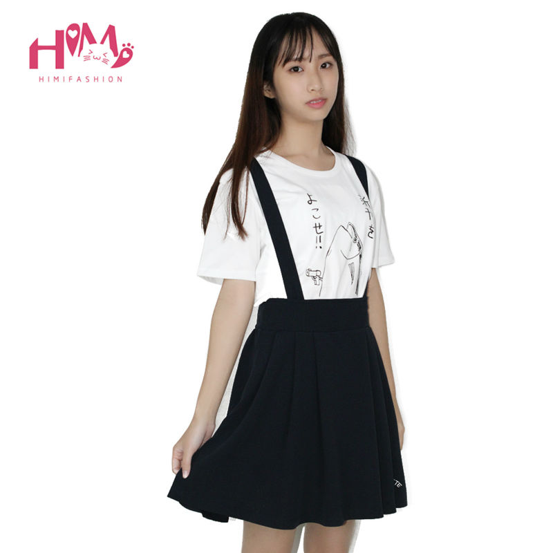 Japanese college suspenders skirt strap skirt all match pleated cotton for school girl candy colors knee-length navy red green 3
