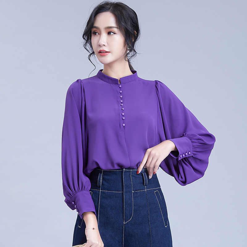 2019 プラスサイズの女性シフォンシャツ女性事務トップス女性ちょうちん袖紫シフォンブラウス