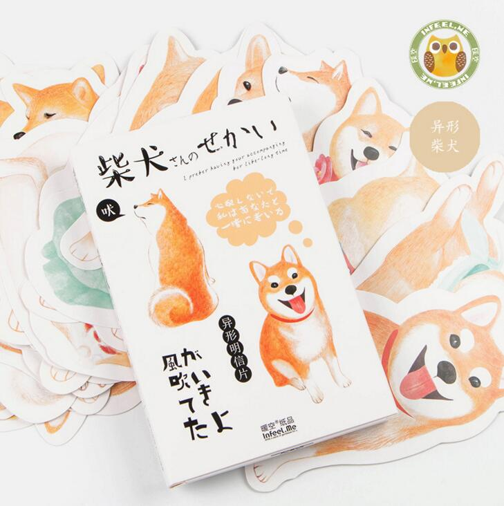 30 pcs/pack Oxygen Smile Shiba Greeting Card Postcard Birthday Gift Card Set Message Card 30 pcs lot art series famous paintings postcard greeting card christmas card birthday card gift cards free shipping