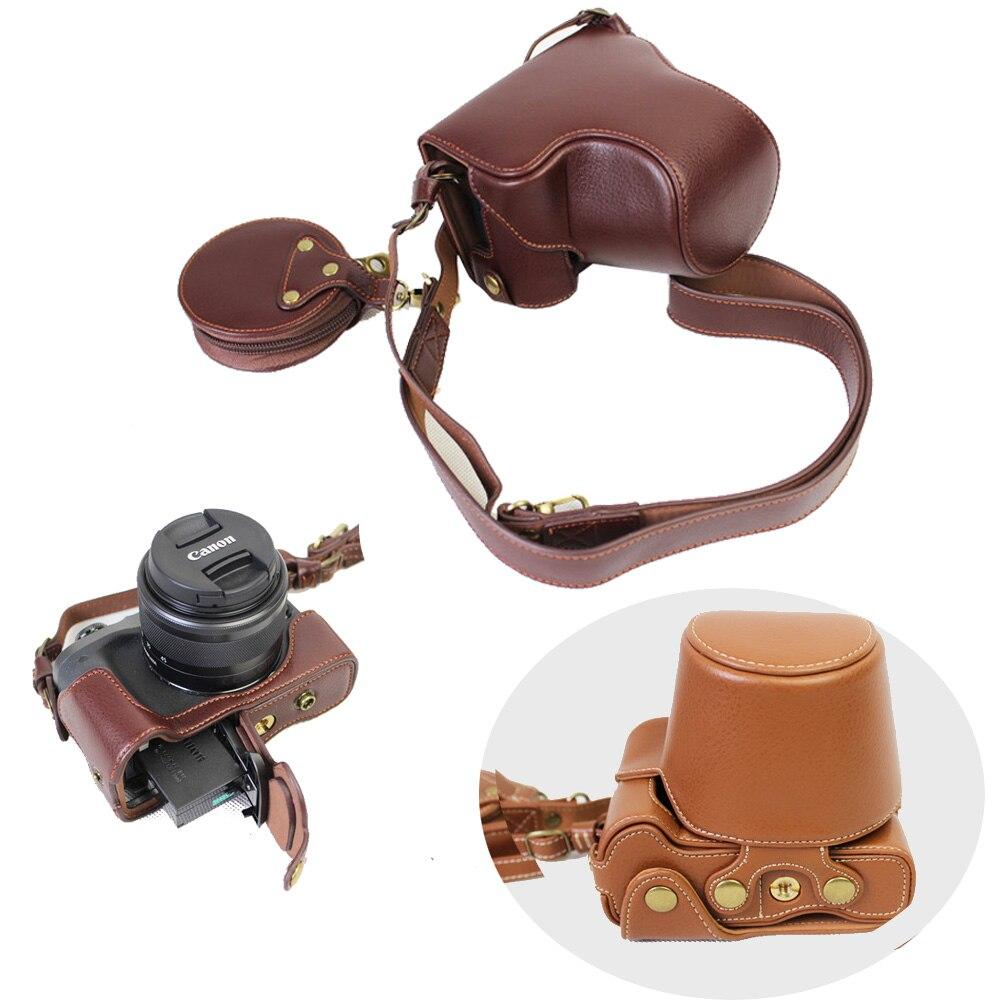 Nouveau sac de boîtier de caméra vidéo pour Canon EOS M6 EOSM6 15-45mm lentille en cuir véritable pochette avec sangle batterie ouverte directement