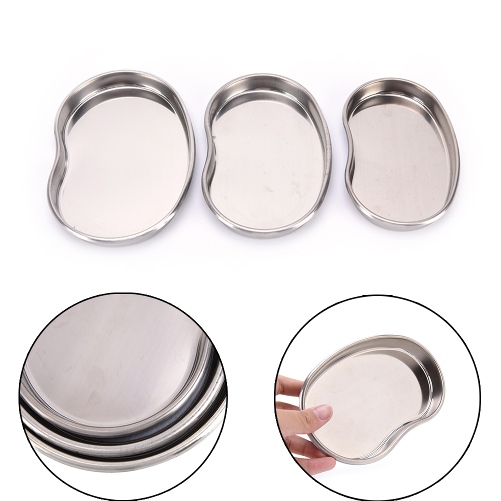 S M L Stainless Steel Surgical Medical Dental Instruments Bending Tray Disinfection Plate For eyebrow lip Tattoo Sterilization