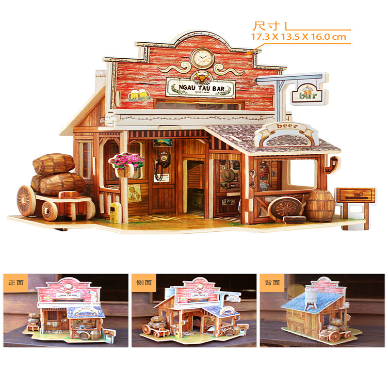 3D Stereo Puzzle Children 's Toys Wooden DIY Hut Assembly Model French Style Children Play Training Educational Toys for gifts 2
