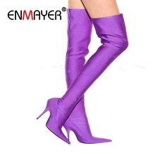 ENMAYER New Big size34-43 Sexy Stretch boots High Heels Long Boots Women Shoes Knee-high thigh Knight boots Pointy European CR78 enmayer hot quality winter womens boots genuine leather high boots new flats heels shoes women boots big size 34 43 knight boots