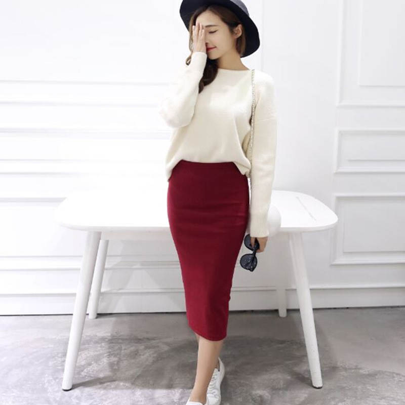 2016 Summer Skirts Sexy Chic Pencil Skirts Women Skirt Wool Rib Knit Long Skirt Package Hip Split Waist Midi Skirt Maxi A919 #2