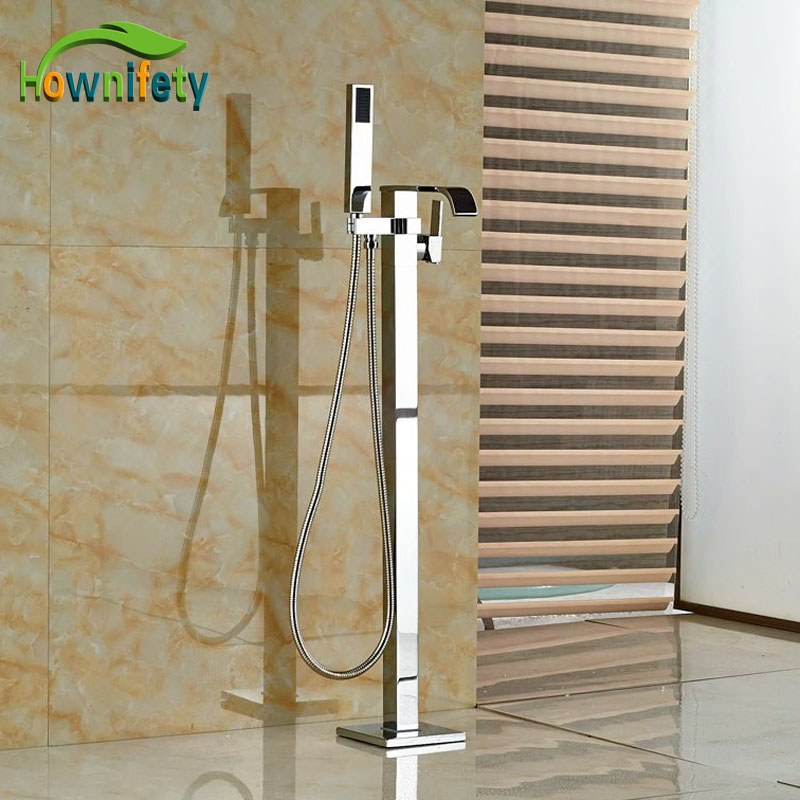 Solid Brass Bath Tub Shower Faucet Floor Standing Chrome Polish Single Lever With Handheld Sprayer
