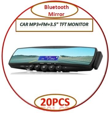 "FREE SHIPPING/HOT/20PCS/Bluetooth Mirror + TTS + Phonebook + Car MP3 + Earpiece + FM + 3.5"" TFT monitor BY DHL"