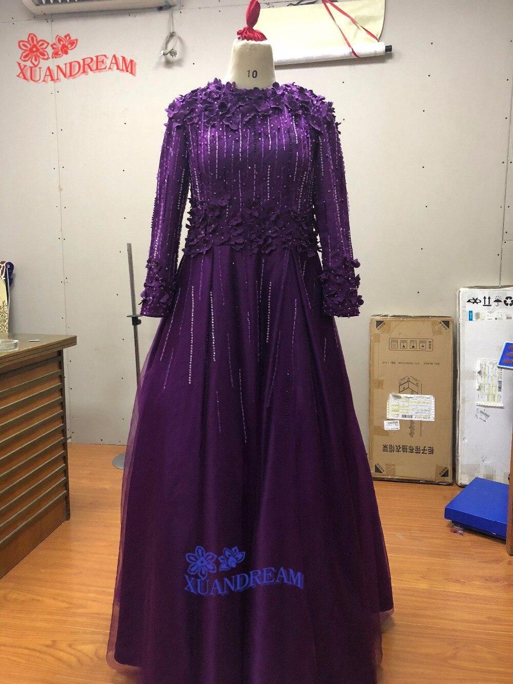 100 real made hot instagram evening dress vestidos de festa formal long sleeves with 3D flower