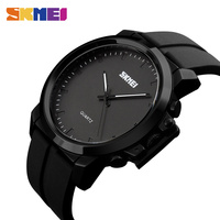 SKMEI Fashion Brand 2017 Quartz WristWatch Silicone Leather Strap Waterproof Big Dial Simple Mens Watches Top