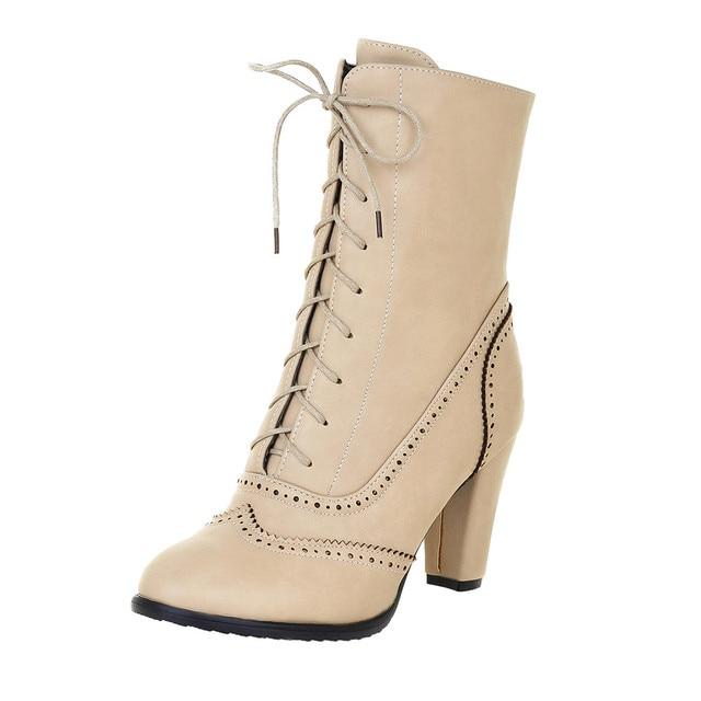 2019 المرأة الشتاء الأحذية حذاء الثلوج الأزياء الكلاسيكية الجلدية مدببة الدانتيل متابعة عالية الكعب أحذية الأوسط أنبوب الأحذية للماء الساخن
