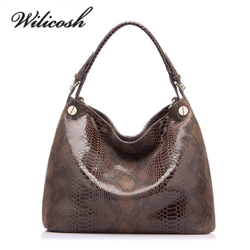 Wilicosh New Luxury Snake Designer Women Handbag Big Capacity Embossed Cow Genui