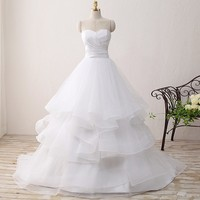 2017 Elgant A Line Wedding Dress Off Shoulder Sweetheart Ruffles Wedding Gown White Organza Bride Dress