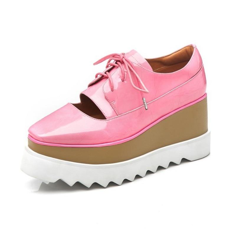 Verni Semelles Femmes Streetwear Dentelle Compensées Chaussures Épais Cuir Cales En 1 Up À Décontracté Printemps Véritable 2019 2 Rose Échancré Nouveau vqpx4ZZ