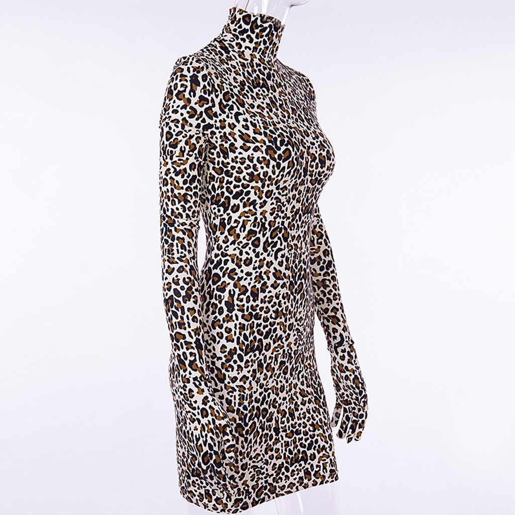 Сексуальное женское платье с леопардовым принтом, женское платье с длинным рукавом, перчатки, Клубные винтажные женские платья, женская одежда размера плюс, женская одежда