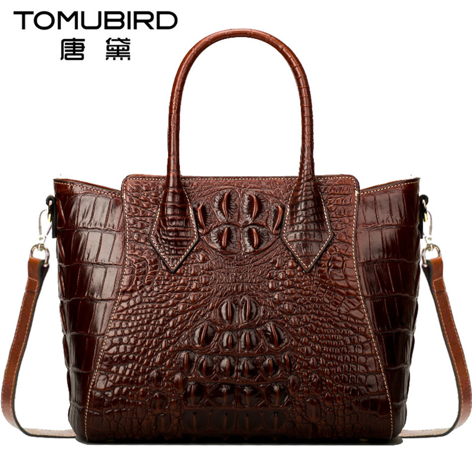 Tomubird Luxury women top-handle bags Imported cowhide female bag vintage crocodile grain bolsos mujer de marca famosa 2018 2018 yuanyu 2016 new women crocodile bag women clutches leather bag female crocodile grain long hand bag