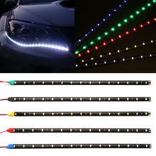 "car-styling 30cm Car Flexible LED Strip Light High Power 12V 11.8"" 15SMD Waterproof LED Daytime Running Light Decorative Car DRL(China)"
