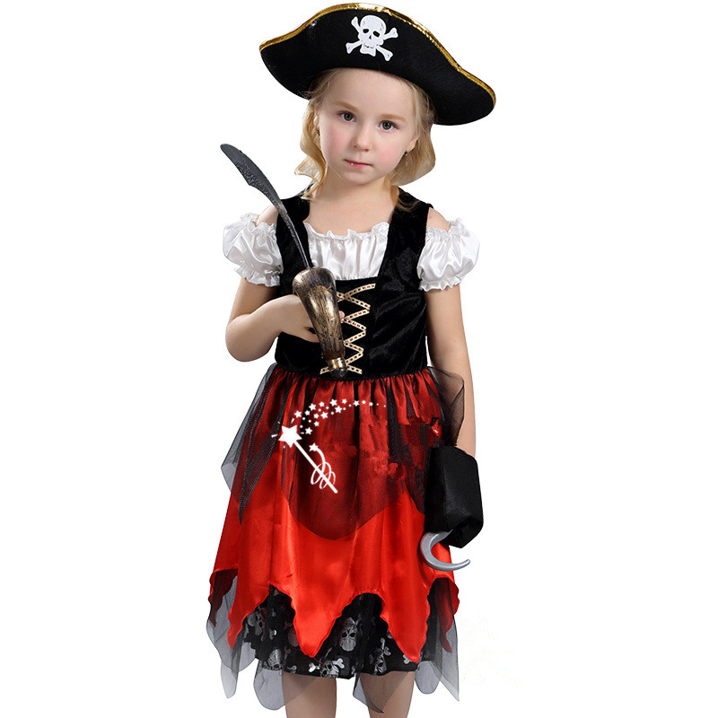 Halloween Baby girls Pirates of the Caribbean Costume New arrived Children dress Knee-length High quality pirates dress 2017 baby watch наручные zip pirates 600533