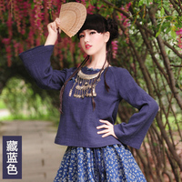 [ LYNETTE'S CHINOISERIE BOSHOW ] 2015 autumn female savce red navy blue national trend long sleeve fluid chinese style top