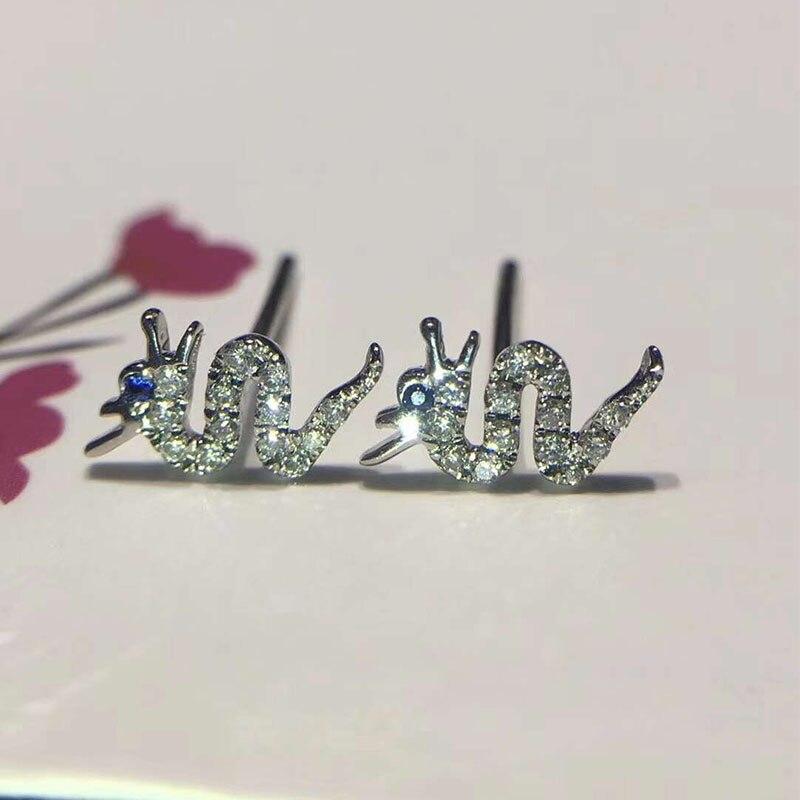 все цены на ANI 18K White/Rose Gold Women Wedding Stud Earrings Certified Natural Diamond Dragon Shape Earrings for Young aretes de mujer