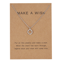 Ailodo Crystal Hollow Circle Pendant Necklace Make a Wish Silver Color Women Gift Card Jewelry Birthday LD238