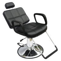 Black Barber Chair Shellhard Adjustable Reclining Hydraulic Hairdress Chairs Beauty Salon Equipment