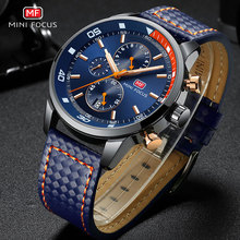 MINI FOCUS Mens Army Chronograph Quartz Watches Military Sports Waterproof Wristwatch Man Luminous Relogios Masculino 0017 Blue