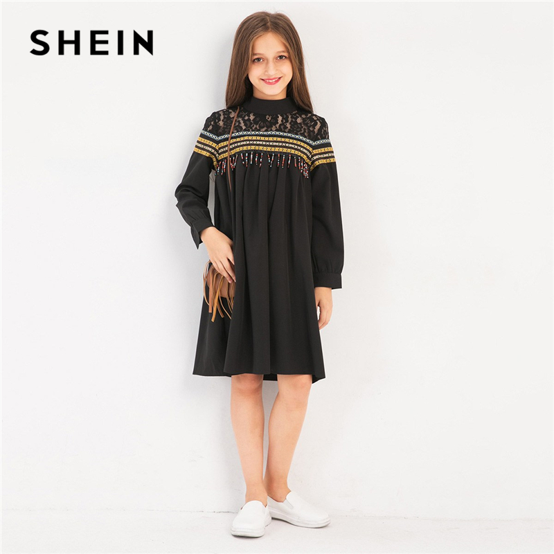 SHEIN Kiddie High Neck Contrast Lace Beaded Casual Girls Dress 2019 Spring Geometric Print Knee Length Flared Dresses For Kids
